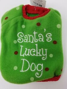 """Santa's Lucky Dog Costume Green Red Small 6.5"""" - 7"""" Neck 8"""" Long Knit Sweater"""