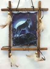 WOLF MOON WALL HANGING Wood Framed Wolves Print Nature Wildlife Decor NEW!