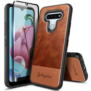 For LG Stylo 6 Case, Shockproof Leather Phone Cover + Tempered Glass Protector