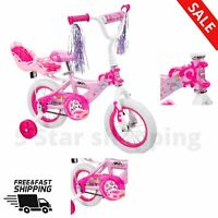 """12"""" GIRLS BIKE WITH DOLL CARRIER Durable Steel Plastic Pedal Brake Kids Fun Play"""