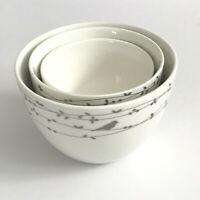 Ciroa Oiseau Porcelain Nesting Bowls Set of 3 Bird Vines Platinum Silver White