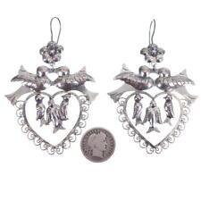"Mexico Earrings Sterling Silver Pearl ""FRIDAS Heart LOVEBIRDS"" Dangles Taxco"