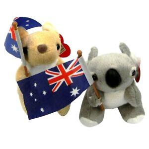 2 Australian Souvenir Soft Plush Toy Australia Kangaroo Koala Aussie Flag