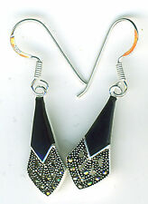 925 Sterling Silver Black Onyx & Marcasite Drop / Dangle Earrings Length 1.3/8""