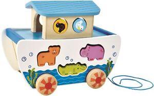 Hape PULL ALONG NOAH'S ARK Pre-School Young Children Wooden Toy Game BN