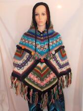 New Fair Trade Multi-Coloured Soft Wool Hippie Boho Pixie Hood Poncho From Nepal