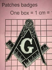 #573 FREEMASON MASONIC Square & Compass Iron Sew-on Embroidered Patch