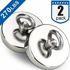 Diymag 2Pack Powerful Fishing Magnets,with Countersunk Hole Eyebolt, Diameter 1.