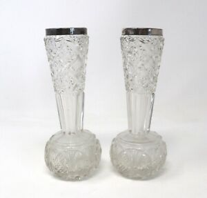 A Lovely Pair Of Antique Solid Silver Rimmed Large Bud Flowers Vases #30366