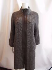 TORY BURCH Brown and Gray Leather Trim Long Coat Size 8