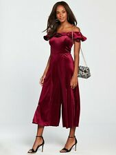 New COAST Della Plum Velvet Bardot 1960s Evening Jumpsuit Size 12 £129 Christmas