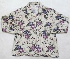 Dress Barn Shirt Silk Beige Long Sleeve Large Women's Top Floral Hawaiian Flower