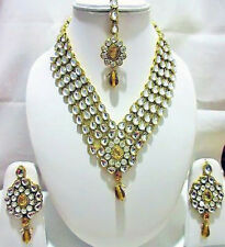 Indian Traditional Bridal Gold Tone Kundan Bollywood Wedding Fashion Jewelry Set