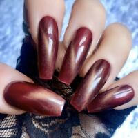 Hand Painted Gel Coffin Extra Long False Nails Deep Red & Gold