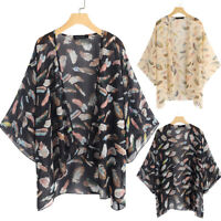 Women Chiffon Kimono Cardigan Floral Print Jacket Coat Sun Smock Tops Shirt Plus