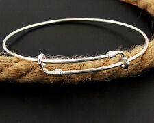 Sterling Silver expandable bangle bracelet adjustable wire plain 925 bracelet