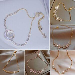 925 Silver Zircon Crystal Star Moon Flower Bracelet Bangle Women Adjustable Gift