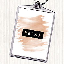 Watercolour Dark Relax Quote Bag Tag Keychain Keyring