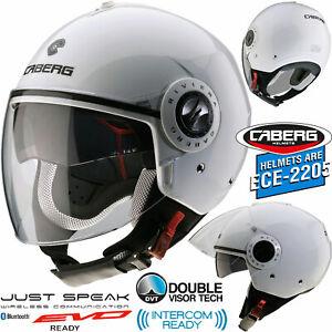 CABERG Jethelm mit Visier RIVIERA V3 weiss Motorradhelm mit Sonnenblende Helm