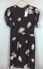 Topshop Tall Black Blue Floral Short Sleeve Velvet Stud Trim Tea Dress 16 -B44