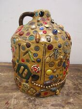 Antique LARGE Folk Art Stoneware Memory Jug Crock - Buttons, Toys, Jewelry L@@K!