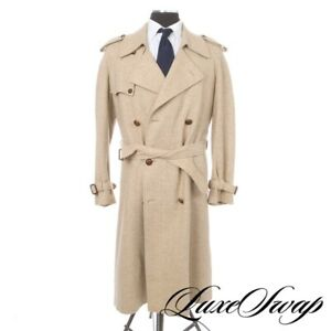 #1 MENSWEAR Whitehouse & Hardy Italy Cream Herringbone Tweed Belted Robe Coat 42