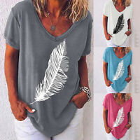 Women's Short Sleeve Feather Print Loose Shirt Summer V Neck Blouse Casual Tops