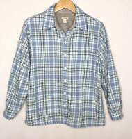 LL Bean Womens XS Petite Fleece Lined Flannel Shirt Plaid Blue Button 285016
