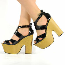 Womens Ladies Midi Demi Wedge Chunky High Heel Ankle Strap Party Shoes Size 3-8 Black Patent UK 8 EU 41