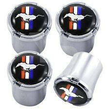 Ford Mustang Tri-Bar Tire Valve Stem Caps Black and Silver Set of 4 MADE IN USA