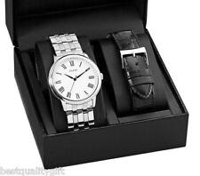 GUESS WATCH STAINLESS STEEL,BLACK LEATHER INTERCHANGABLE BAND WATCH SET-U10624G1