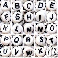 100 x 7mm white flat round single & mixed (random) alphabet/letter acrylic beads
