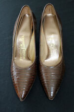 Vintage 1950'S-1960'S Brown Authentic Lizard Skin Shoes Size 6A Aaa Width
