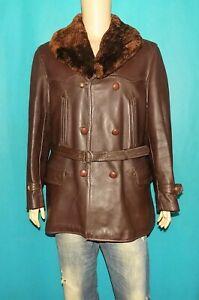 canadienne vintage complète année 1950 cuir marron avec doublure et col taille L