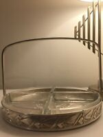 1930's French Art Deco serving tray-Silver and glass-Good size-Good condition