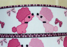 2 YARDS PINK POODLE PUPPY DOG with BOWS GROSGRAIN RIBBON PRINTED 22 mm  #2