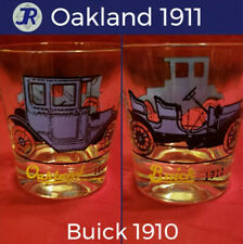 🚗Vintage Antique Car Lowball Drinking Glass 1911 Oakland & 1910 Buick Blue