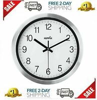 Silent Wall Clock 12 Inch Battery Operated Non-Ticking Silver Wall Decor Atomic