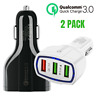 2 PACK QC 3.0 Fast Quick Car Charger 3 Port USB Car Charging Adapter For iPhone
