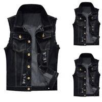 2019 Men's Punk Denim Vest Sleeveless Jean Jackets with Rivets Motobike coats US