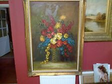 Fine Mid 2Oth c, Huge English Oil on Canvas. Still Life Basket of Flowers Study.