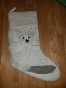 Pottery Barn Polar Bear Christmas Stocking Ivory Furry Beaded NO MONOGRAM HTF