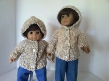 """Hooded Cardigan Sweater in Shades of Cream & Beige - Fits 15"""" & 18"""" Dolls."""