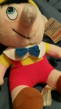 """VINTAGE PINOCCHIO 9"""" PLUSH DISNEY DOLL MADE IN TAIWAN Red Yellow Hat"""