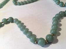 1930 Early Chinese Republic Period Green Jade Necklace Sterling Silver