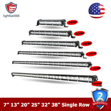 7 13 20 25 32 38inch LED Light Bar Single Row Slim Off Road Driving Lamp ATV SUV
