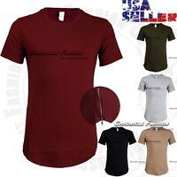 Men T Shirts Crew neck Extended Elongated Hip Hop Long Tee Casual Zipper HIpster