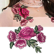 NT Embroidered Sew Iron on Patch Badge Rose Flower Bag Hat Dress Applique DIY A