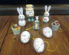Vintage All Wood Easter Home, Basket Decor Cake Topper Rabbit, Bunny, Egg, Bird
