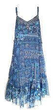 Ladies M&S boho midi dress foil thread sz12 Embellished Blue Floral Indian print